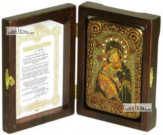 Владимирская Божия Матерь (старинный стиль), икона подарочная в футляре, 10х15 см - вид в комплекте