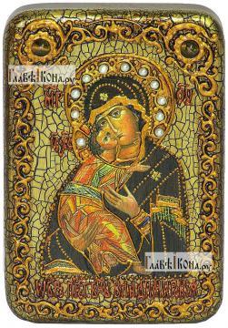 Владимирская Божия Матерь (старинный стиль), икона подарочная в футляре, 10х15 см
