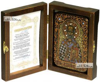 Николай Чудотворец святитель, икона подарочная в футляре, 10х15 см - вид в комплекте