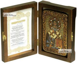 Николай Чудотворец (старинный стиль), икона подарочная в футляре, 10х15 см - вид в комплекте
