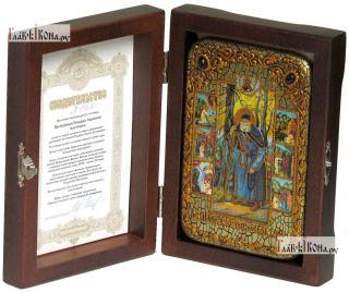 Серафим Саровский преподобный (с житием), икона подарочная в футляре, 10х15 см - вид в комплекте