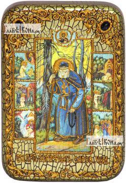 Серафим Саровский преподобный (с житием), икона подарочная в футляре, 10х15 см
