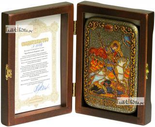 Георгий Победоносец (Чудо о змии), икона подарочная в футляре, 10х15 см - вид в комплекте