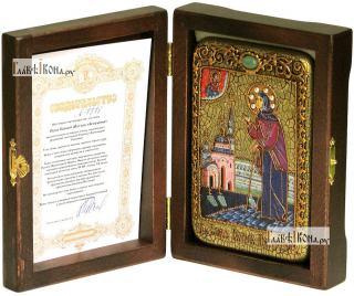 Ксения Петербургская (ростовая), икона подарочная в футляре, 10х15 см - вид в комплекте