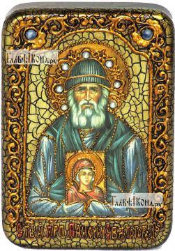 Паисий Святогорец, преподобный, икона подарочная в футляре, 10х15 см
