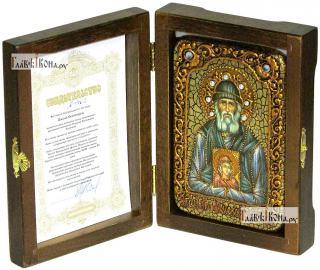 Паисий Святогорец, преподобный, икона подарочная в футляре, 10х15 см - вид в комплекте