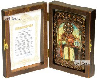 Ярослав Мудрый, икона подарочная в футляре, 10х15 см - вид в комплекте