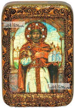 Ярослав Мудрый, икона подарочная в футляре, 10х15 см
