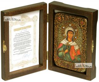 Алла мученица, икона подарочная в футляре, 10х15 см - вид в комплекте