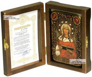 Валентина Кесарийская, икона подарочная в футляре, 10х15 см - вид в комплекте