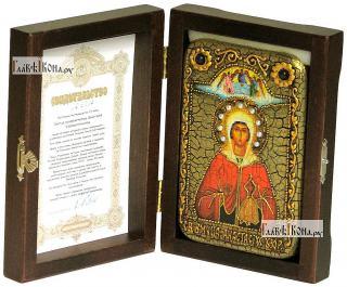 Анастасия Узорешительница, икона подарочная в футляре, 10х15 см - вид в комплекте