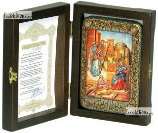 Благовещение Пресвятой Богородицы, икона подарочная в футляре, 10х15 см - вид в комплекте