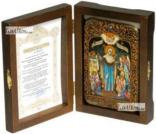 Всех Скорбящих Радость Божия Матерь, икона подарочная в футляре, 10х15 см - вид в комплекте