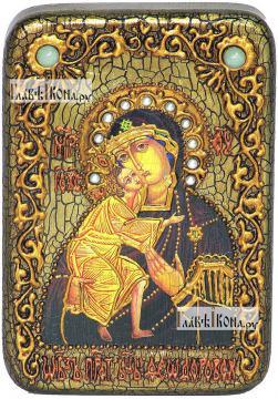Феодоровская Божия Матерь, икона подарочная в футляре, 10х15 см