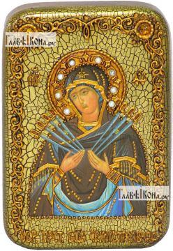 Семистрельная Божия Матерь, икона подарочная в футляре, 10х15 см