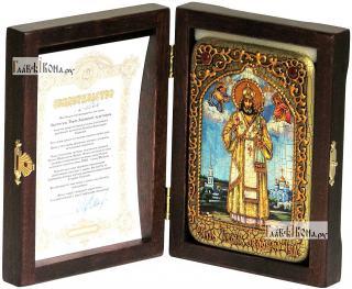 Святитель Тихон Задонский, икона подарочная в футляре, 10х15 см - вид в комплекте