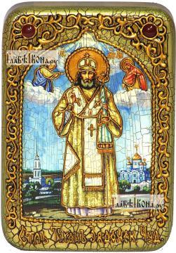 Святитель Тихон Задонский, икона подарочная в футляре, 10х15 см
