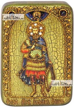 Мученик Иоанн Воин, икона подарочная в футляре, 10х15 см