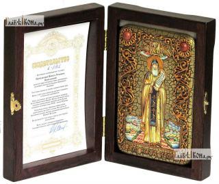 Преподобный Никита Столпник (Переславский), икона подарочная в футляре, 10х15 см - вид в комплекте