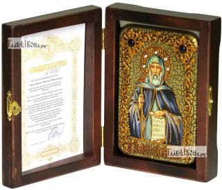 Преподобный Антоний Великий, икона подарочная в футляре, 10х15 см - вид в комплекте