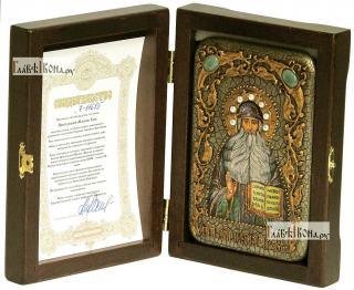 Максим Грек преподобный, икона подарочная в футляре, 10х15 см - вид в комплекте
