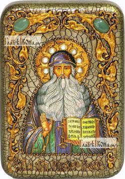 Максим Грек преподобный, икона подарочная в футляре, 10х15 см
