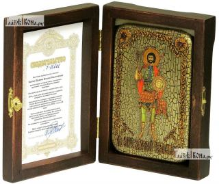 Валерий Севастийский, икона подарочная в футляре, 10х15 см - вид в комплекте
