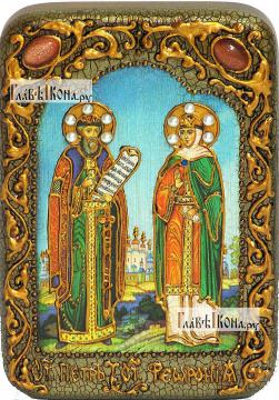 Петр и Феврония Муромские (на голубом фоне), икона подарочная в футляре, 10х15 см