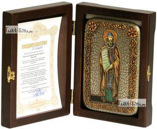 Кирилл равноапостольный, икона подарочная в футляре, 10х15 см - вид в комплекте