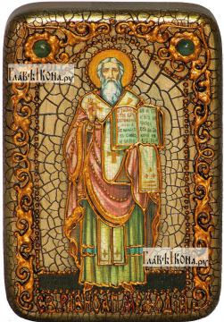 Мефодий равноапостольный, икона подарочная в футляре, 10х15 см