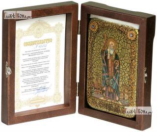 Ермоген, патриарх Московский и всея Руси, икона подарочная в футляре, 10х15 см - вид в комплекте