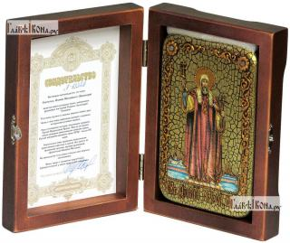 Филипп, митрополит Московский, святитель, икона подарочная в футляре, 10х15 см - вид в комплекте