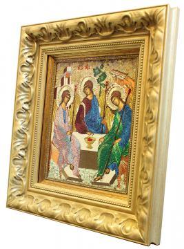 Вышитая икона Пресятой Троицы, артикул 71900 - вид сбоку