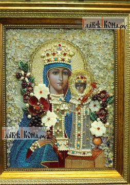 """Божия Матерь """"Неувядаемый Цвет"""", вышитая икона с камнями, артикул 71901 - детали Образа"""