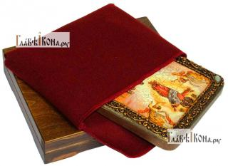 Вознесение Господня, икона подарочная на дубовой доске, 15х20 см - вид в комплекте