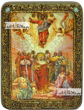 Вознесение Господня, икона подарочная на дубовой доске, 15х20 см