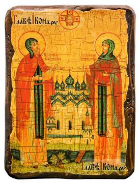 Петр и Феврония, икона состаренная артикул 60168