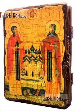 Петр и Феврония, икона состаренная артикул 60168 - вид сбоку