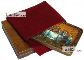 Тайная Вечеря, икона подарочная на дубовой доске, 15х20 см - вид в комплекте