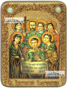Царственные страстотерпцы (поясные), икона подарочная на дубовой доске, 15х20 см