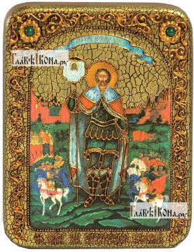 Александр Невский, благоверный князь (ростовой), икона подарочная на дубовой доске, 15х20 см