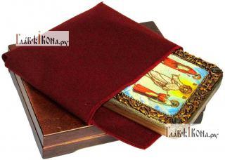 Преображение Господня, икона подарочная на дубовой доске, 15х20 см - вид в комплекте