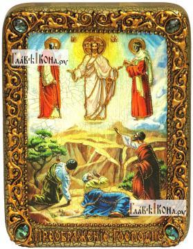 Преображение Господня, икона подарочная на дубовой доске, 15х20 см