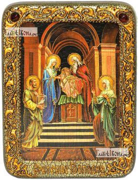 Сретение Господне, икона подарочная на дубовой доске, 15х20 см