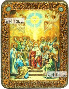 Сошествие Святого Духа, икона подарочная на дубовой доске, 15х20 см