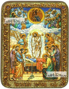 Успение Пресвятой Богородицы, икона подарочная на дубовой доске, 15х20 см