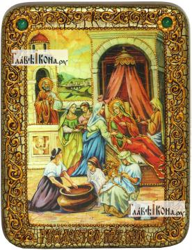 Рождество Пресвятой Богородицы, икона подарочная на дубовой доске, 15х20 см