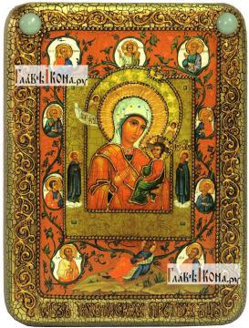 Тихвинская Хлебенная (Запечная) Божия Матерь, икона подарочная на дубовой доске, 15х20 см