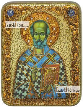 Николай Чудотворец святитель, икона подарочная на дубовой доске, 15х20 см