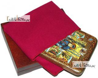 Серафим Саровский преподобный (с житием), икона подарочная на дубовой доске, 15х20 см - вид в комплекте
